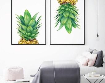 Art prints, Pineapple Prints, printable art, pineapple decor, Tropical Art, Printable Pineapple, Printable wall art, Pineapple print