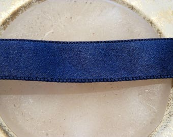 Old Ribbon in Navy blue satin 1 m x 1.8 cm