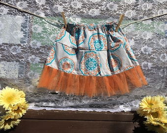 Orange and Tuquoise Tutu Skirt