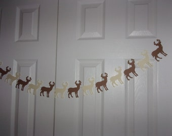 Deer Garland - Kraft, Cream Cardstock Paper - Woodland Baby Shower Hunt Hunting Birthday Party Banner Hanging Decor