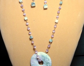 Asian Style Peace Jade and Cat Eye Necklace/ Jade Necklace / Peace Jade Necklace/ Pink and lavender Necklace