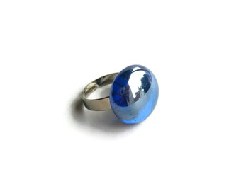 Ring with Iridescent Blue Glass Gem