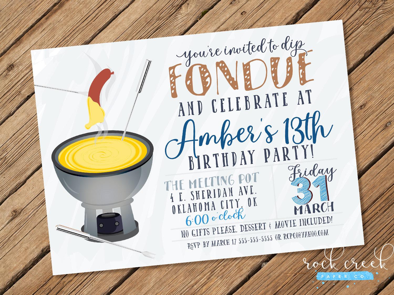 Fondue Invitation Fondue Party Fondue Birthday Party Fondue