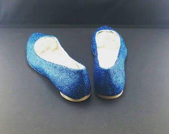 Blue glitter flats size 6