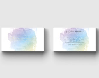 Watercolor&Gold  Business Card Template/business card/business template/photoshop/print template/watercolor/gold/stationery.elegant/modern