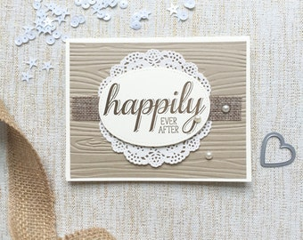 Happily Ever After. Rustic Wedding Card. Shabby Chic Wedding Day. Burlap Faux Bois Lace and Pearls. Country Wedding inspired. Romantic Card