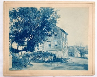 Cyanotype of a house, mounted. Farmhouse