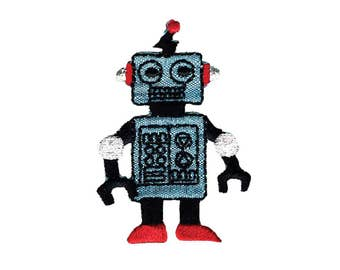 Robot Iron On Applique, Robot Iron On Patch, Robot Applique, Boys Patch, Fun Patch, Kids Patch, Embroidered Patch