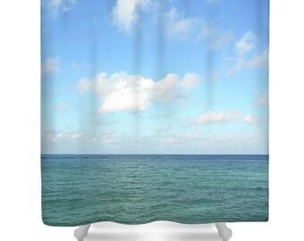 OCEAN VIEW Photo Shower Curtain Beach Original Photo Printed Shower Curtain Bath Decor Sky Sea Ocean Blue Clouds Water