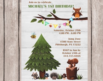 Woodland Invitation, Woodland Baby Shower, First Birthday, Woodland, Woodland Birthday, Birthday Invitation, Printed or Digital File