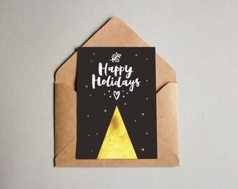 Happy Holidays CHRISTMAS PRINTABLE CARD, Downloadable Christmas Cards, Modern Chic Christmas Cards