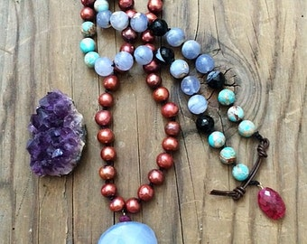Rose Copper Freshwater Pearl Necklace | Periwinkle Chalcedony | Natural Amethyst | Ruby | Jasper | Bohemian | Gemstone