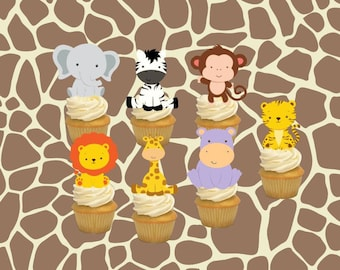 baby boy, table decor, jungle, jungle safari, baby shower, cupcake toppers, baby shower, safari birthday, safari baby shower, safari toppers