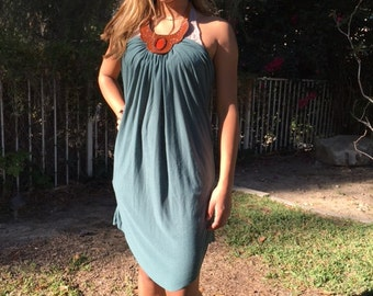 Green halter dress, tooled leather collar, XS, small