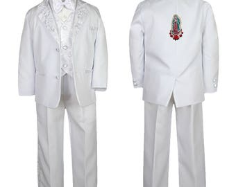 New Baby Toddler Boys WHITE Christening 1st Communion 5 (or 6 with stole) pieces Suit Tuxedo BY021 Guadalupe 2