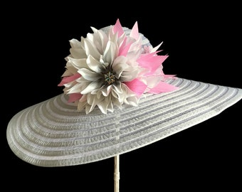 """Women's Kentucky Derby Hat, Beach Hat, Wide Brim Hat, Garden and Tea Party Hat in Celedon Green and Pink is - """"Simply Perfect"""""""