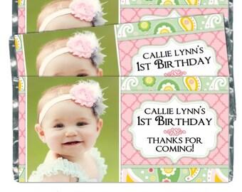 Printable Candy Wrappers, Paisley Photo Custom Candy wrappers, First Birthday Wrappers, fit chocolate bars, CUSTOM design for you, YOU PRINT