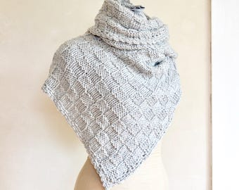 Silver Gray Merino Wrap / Shawl Hand Knit Super Soft Light Washable Wool Scarf