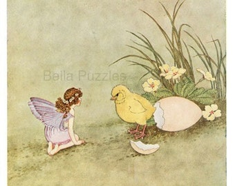 Hand-cut wooden jigsaw puzzle. FAIRY and CHICK. Outhwaite. Fairytale gift.  Wood, collectible. Bella Puzzles.