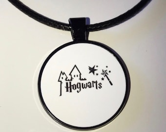 Harry Potter inspired Hogwarts Necklace on Faux Leather Cord