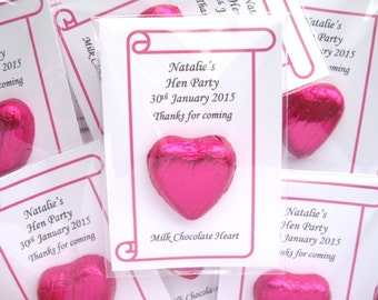 Personalised Favour - Single Chocolate Heart - Wedding/Hen Party/Hen Night/Birthday