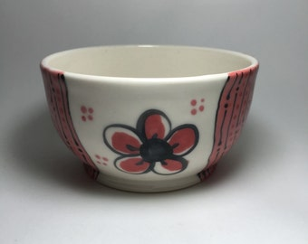 Hand Painted Porcelain Bowl with Red Plum Flower - Ceramic Cereal Bowl - Red Flowers - Cereal Bowl - Porcelain Bowl - Mother's day - Gift