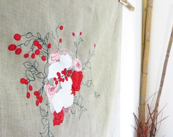Floral linen tablecloth, square tablecloth table topper, table cloth cottage tableware, embroidery table linen home decor, hostess gift