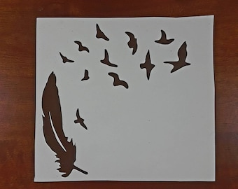 Brown Feather and Birds Vinyl Decal