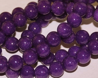 Full Strand 8mm Purple Amethyst Color Agate Gemstone Beads  4-5
