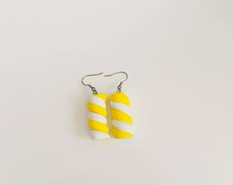 Earrings polymer jewelry Marshmallow-Marshmallow-Marshmallow candy gourmet fancy girl child jewelry