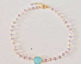 Peace Choker with Chalcedony and Amethyst