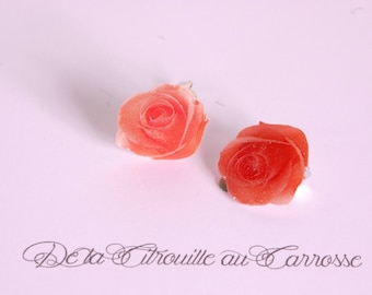 Clip on earrings coral flower