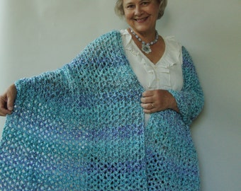 Crochet Shawl, Crocheted Shawls, Shawl Crochet, Aqua Shawl, Evening Shawls Wraps, Shawl, Grandma Gift, Mom Gift, Crochet Shawls