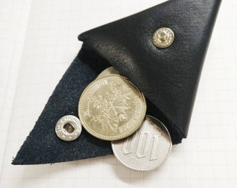 Triangular coin purse - ethical fashion - upcycled leather - handmade - conscious fashion -