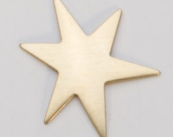 "Brass Funky Star 6 pointed 1-1/8""  24ga PKG of 6 Great Stamping Accessory"