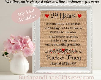 29 29th Anniversary 29 Years Together 29th Wedding Anniversary Gift Wife Gift Husband Gift Framed Print Gift to Husband Gift Wife(ana207-28)