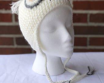 Winter Snowy Owl Hat Size 9-12 months