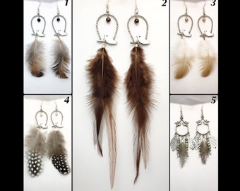 """""""Chicks"""" in natural feather earrings"""