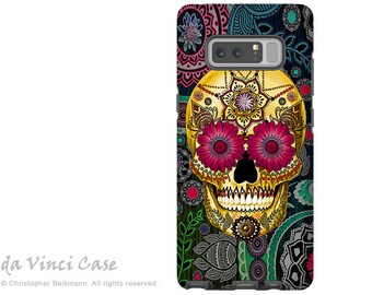 Colorful Paisley Sugar Skull Galaxy Note 8 Case - Day of the Dead Case for Samsung Galaxy Note 8 - Sugar Skull Paisley Garden