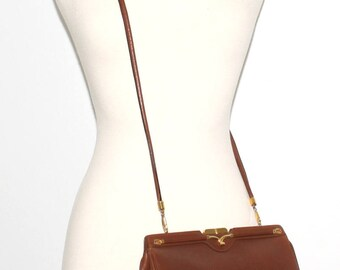 GUCCI Vintage Tote Brown Leather Convertible Clutch - AUTHENTIC -
