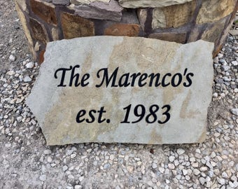 Custom engraved flagstone sign, memorial, headstone, gravestone, celebration, wedding, anniversary stone