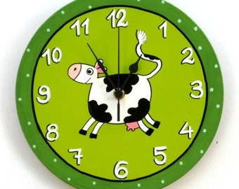 Hand Painted green Wall Clock