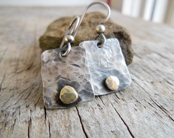 Sterling Silver Earrings, Brass Pebble Accent, dangle earrings, Rustic Style Jewelry