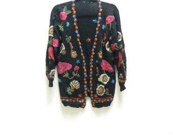Floral Embroidered Cardigan Vintage Black Cardigan Flower Embroidery Long Sleeve Cardigan Vintage Sweater Ladies Embroidered Cardigan Floral