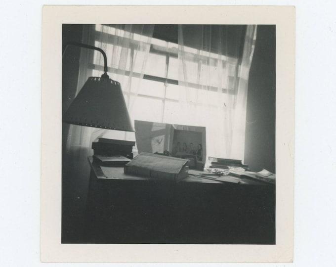 Vintage Snapshot Photo: Desk & Lamp, 1950s (78601)