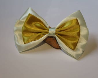 Metal 7 strip or 10 cm with big bow satin cream and mustard yellow fabric
