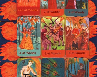 Fiery Wands Tarot: classic-size deck, in stock