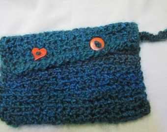 Blue Mini Tablet Tote Crochet Phone Bag Carrier Button Wristlet Holds Kindle Fire Red Heart Buttons Up Keep it Clean, Carry It
