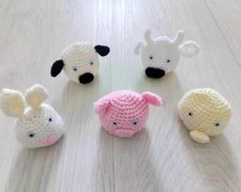 Crochet animal egg cosies, Easter egg cosies, egg cosy, Easter gift, children's egg cover, handmade crochet egg cosy, UK seller, 5 available