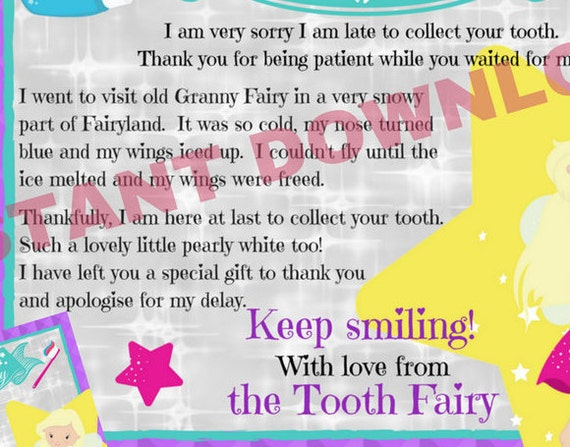 Late Tooth Fairy Letter Tooth Fairy Apology Letter